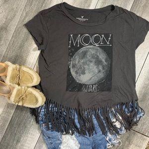{American Eagle} fringed celestial t shirt